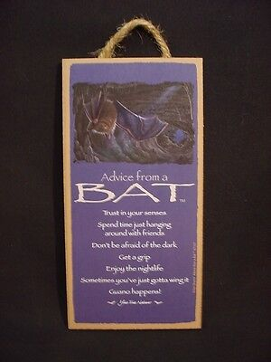 ADVICE FROM A BAT wood INSPIRATIONAL SIGN wall NOVELTY wooden PLAQUE animal NEW