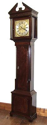 IRISH Antique Brass Dial Mahogany Grandfather Longcase Clock ALEX GORDON DUBLIN