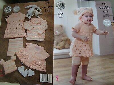 ffc113757 KING COLE 4731 Baby s Complete Outfit DK Knitting Pattern Sizes 14 ...