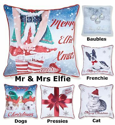 Christmas Cushion Cover Square Scatter Case Xmas Present Santa Claus Cute Puppy
