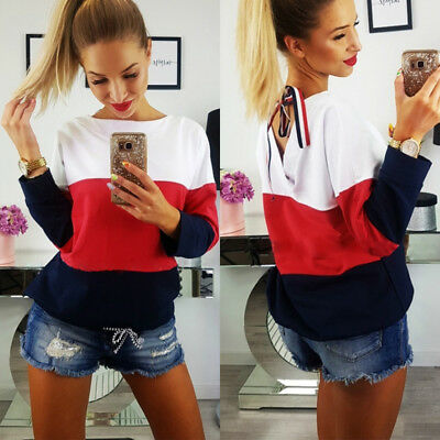 Womens Fashion Long Sleeve Baggy Top Blouse T Shirt Ladies Casual Lace Up Tops