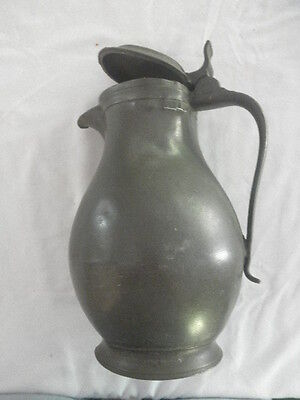 Antique PEWTER PITCHER WITH LID IDW FROM OLD GERMAN CASTLE