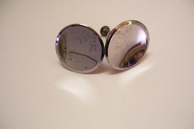 Pair Mid Century Chrome Drawer Pull Knobs Concave Dished 1.5 Inches Wide Vintage
