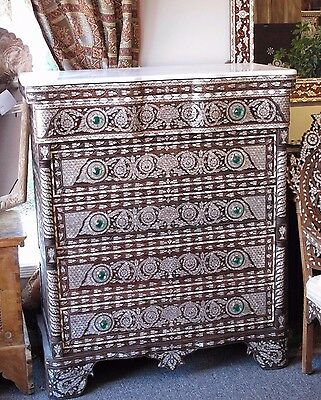 Syrian chest of drawers, dresser inlaid with mother of pearl