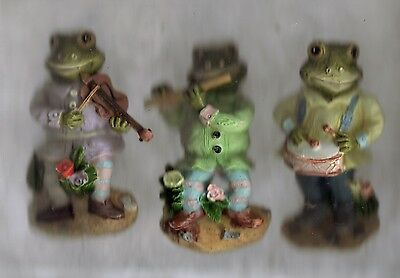 """New 2 3/4"""" x 1 1/4"""" Trio Of Musical Playing Frog Resin Refrigerator Magnets"""