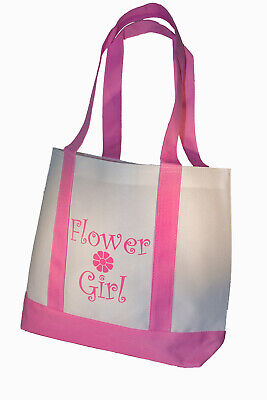 Flower Girl Tote Bag Gift White with Pink Straps Large Wedding Flower Girl Gifts