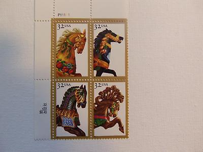 Us Mnh 2976 - 2979A Carousel Horses 1995 Plate Block Of 4   .32 Cent Stamps