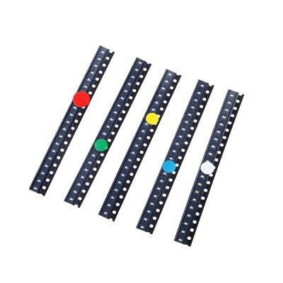 100 Pcs SMD 0603 5 Colors LED Light Red Green Blue Yellow White Assotment Kit