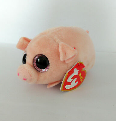3.2'' TY Curly Cute Pink Pig Animal Plush Stuffed Toys Big Pink Eye Kids Present