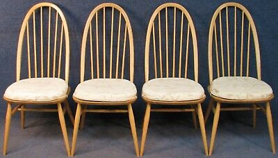Set Of 4 Ercol Windsor Quaker 875 Ash Framed Kitchen Dining Chairs Light Finish