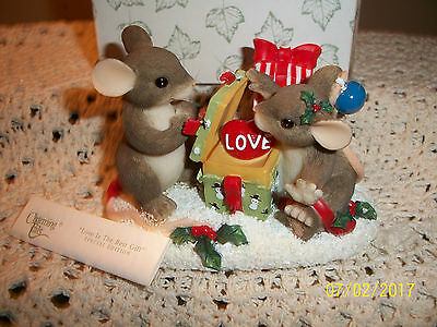 "MIB Fitz & Floyd Charming Tails Mice Figurine ""Love is the Best Gift"""