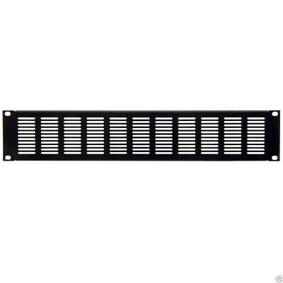 2U Blanking Plate for Comms Data Cabinet Rack 19 Vented Black [006982]