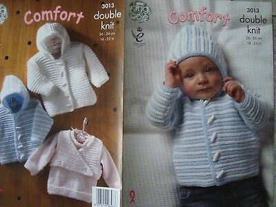 King Cole 3013 Babies Jackets & Sweater DK Knitting Pattern Sizes 14-22""