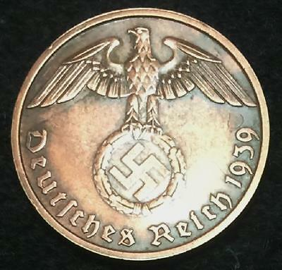 Authentic Rare Third Reich 2Pf Coin with Big EAGLE & SWASTIKA WW2 - Artifact