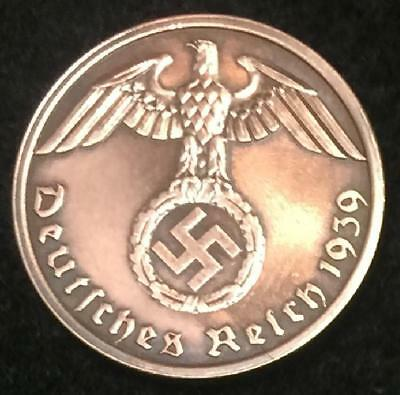 Antique Third Reich 1Pf Coin with Big EAGLE & SWASTIKA Authentic WW2 - Artifact