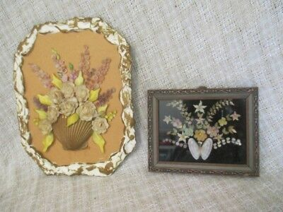 Antique Shell Art - 2  Floral Bouquet Wall Plaques - One Framed Miniature    ro