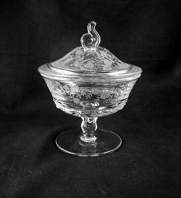 "Elegant Fostoria ""BOUQUET"" Etched- Footed- Covered Preserve Dish- 6 inch"