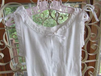 Antique Vintage Little Girls 1pc White Cotton Knit PANTALOONS Knickers Drawers