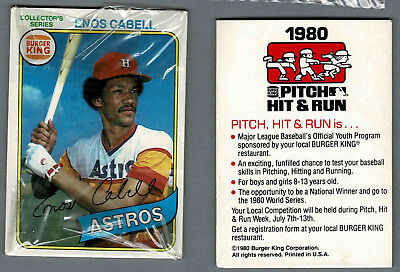 1980 Topps Burger King Unopened Mint Cello Pack of Three, Astros' Enos Cabell...