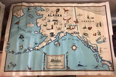 Vintage 1944 Lackey's Pictorial Map of Alaska Whimsical Funny Spoof Comic