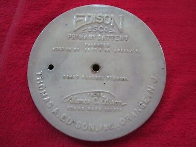 "1911 Thomas A. Edison Bsco Primary Battery 6 3/4"" Porcelain Lid"