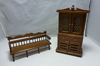 Vintage Miniature Dollhouse Furniture Cottage Style China Cabinet & Bench