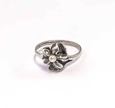 925 Silver Ring Blossom with synthetic Bead Big 53 a8-01360