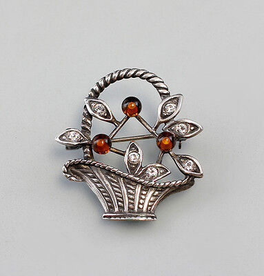 925 Silver Brooch Flower basket with Amber Swarovski Stones a8-01091/25025353