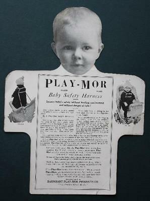 1910s Era Play-Mor Baby Safety Harness 3-D diecut sales backer tag-VINTAGE CUTE!