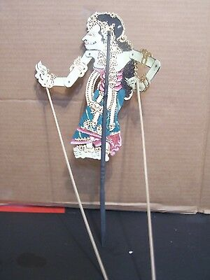 Indonesian Theater Shadow Puppet Handmade & Painted Black Hair