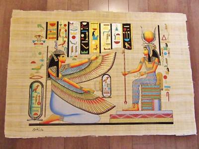 """XXL Signed Handmade Papyrus Egyptian Queen ISIS Art Painting....38"""" x 26"""" Inches"""