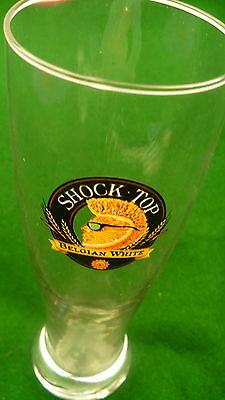 Shock Top Belgian White beer glass 14 ounce tall Import