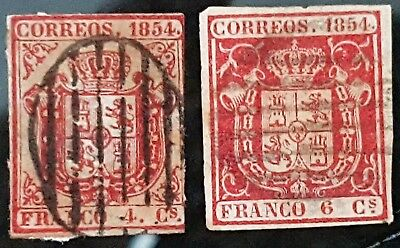 Spain 1854 Sc # 25 and Sc # 26 Used Stamps