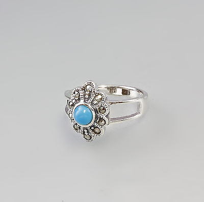 a8-27374 Flower-shaped Marcasite Ring with turquoise Stone 925 Silver