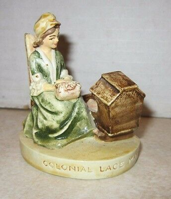 Vintage 1951 Sebastian Miniature Colonial Lace Maker Figurine