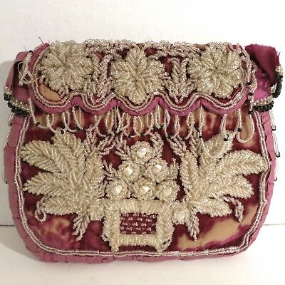 Antique Vintage Native Iroquois Beaded Purse Bag Handbag 2 Sided