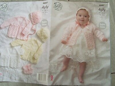 """King Cole 4687 Baby's Matinees,Hats & Shoes 4 Ply Knitting Pattern Sizes 12-18"""""""