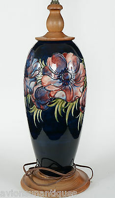 "Large Vintage Moorcroft Pottery Lamp 32 3/4"" Anemone Beautiful"