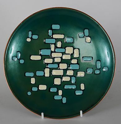 Patricia Fisher Enamel Plate Green Rectangles 1959 Mid Century Modern Eames Era