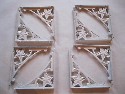 Cast Iron Shelf Brackets Farmhouse White Large Lot of 4  Pairs