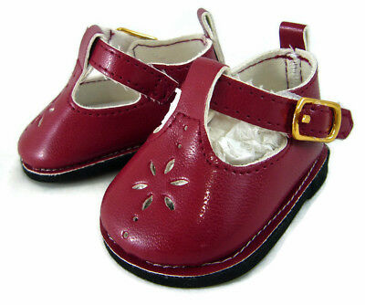 """Burgundy Wine T-Strap Shoes for 18"""" American Girl Doll Clothes Sew Beautiful"""