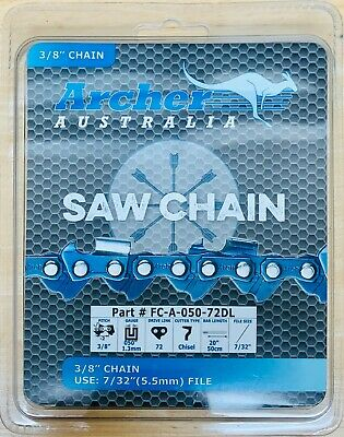 "20"" Archer Chainsaw Chain 3/8"" pitch FULL CHISEL .050 Gauge 72 DL drive links"