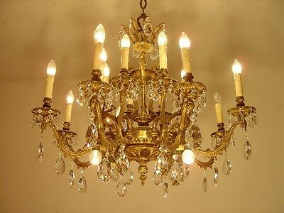 Fantastic 20 Light Heavy Asiatic Brass Chandelier Crystal Bronze