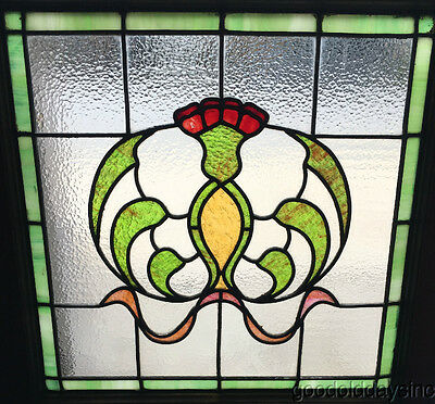 "Antique Art Nouveau Stained Leaded Glass Window 25"" by 24"" Circa 1920   h"