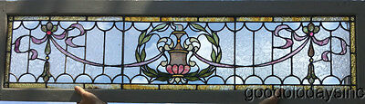 "Beautiful Antique Stained Leaded Glass Transom Window 60"" by 17"" Circa 1900"