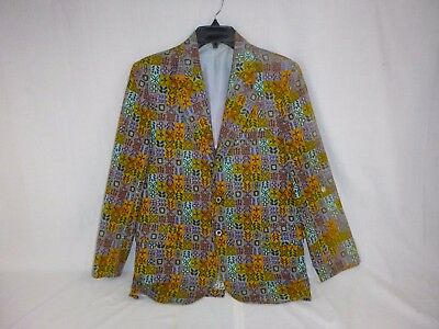 Vtg Sandwich Isles Cotton Sport Coat Jacket Gold Aqua Lilac Tiki Hawaiian  R36