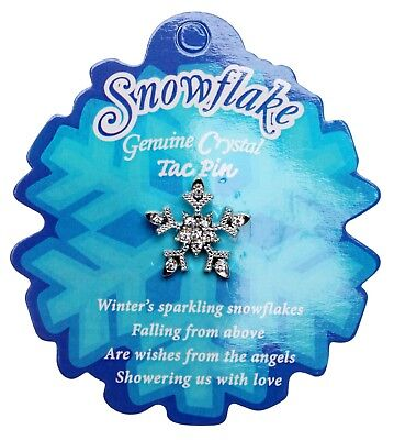 SPARKLING SMALL SNOWFLAKE TAC PIN  on POEM CARD silvertone  ~   Set of 3