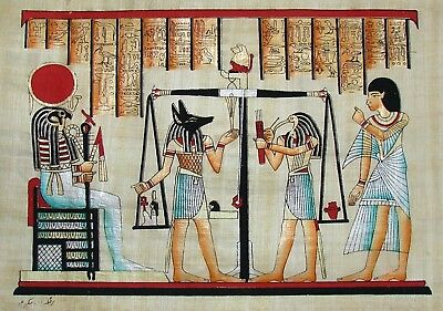 Egyptian Hand-painted Signed Papyrus Art: Hall of Judgment Book of the Dead