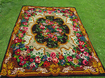 Beautiful Antique c1890s Victorian Mohair Tablecloth with Roses, AsIs