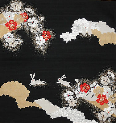 Furoshiki Wrap Cloth Japanese Cotton Fabric 'Elegant Rabbits and Sakura' 50cm